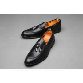 Chaussure Homme En Soulier En Cuir Avec Pompon - Noir