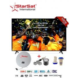 """TV LED 32"""" - Décodeur Intégré TNT + Parabole + LNB tête de satellite + Cable TV - HDMI - USB - Noir + 24 mois de Garantie"""