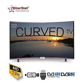 TV LED - 32 Pouces Incurvée - Noir - Bordure Métallique - Slim -HDMI - USB- VGA- Garantie 24 Mois