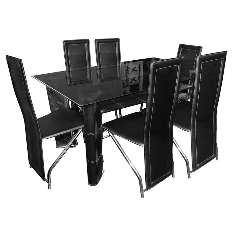 Table À Manger À 1 Étagère En Verre Transparent + 6 Chaises Revêtement  Simli Cuir - Noir