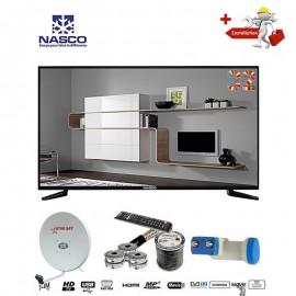 NASCO 32 Pouces - TV LED - décodeur intégré + Parabole + LNB tête de satellite - Noir - Garantie 12 Mois