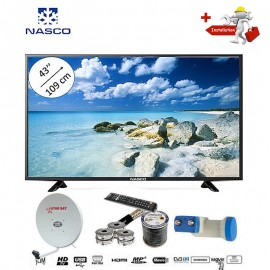 NASCO 43 Pouces - TV LED - Décodeur Intégré + Parabole + LNB Tête De Satellite  - PORT VGA/HDMI - Garantie 12 Mois - Noir