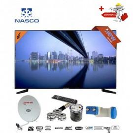 NASCO 40 Pouces - TV LED -- Décodeur Intégré + Parabole + LNB Tête De Satellite  - Noir - Garantie 12 Mois
