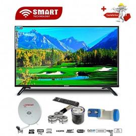 SMART  32 Pouces - TV LED - Décodeur Intégré + Parabole + LNB Tête De Satellite - Noir - Garantie 12 Mois