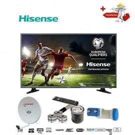 HISENSE TV LED - 32 Pouces- FULL HD + Décodeur Intégré + Parabole + LNB Tête De Satellite+ Support Mural